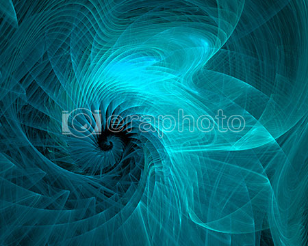 #2000001 - Abstract aquamarine spiral on black background