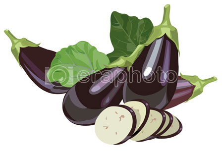 #2000050 - Eggplants with leaves and slices