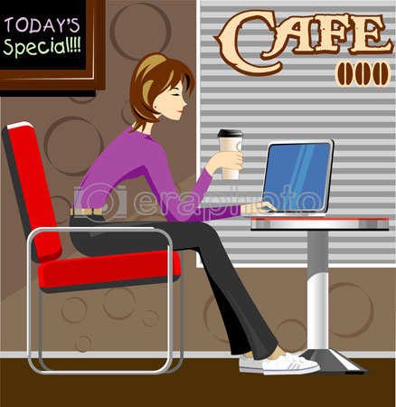 #2000054 - Woman with laptop in coffee shop