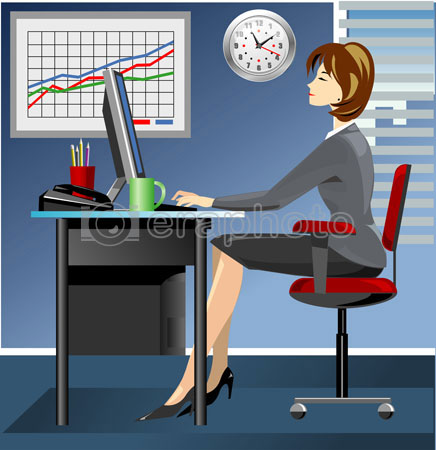 #2000055 - Business woman in office working on computer