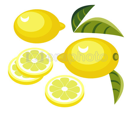 #2000076 - Lemon with slices and leaves