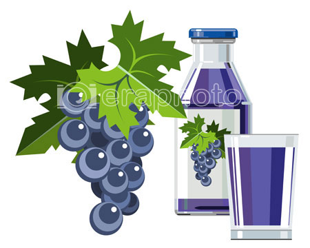 #2000079 - Black grape juice with bottle and glass