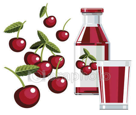 #2000081 - Cherry juice with bottle and glass