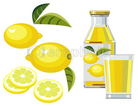 #2000082 - Lemon juice with bottle, glass and lemons