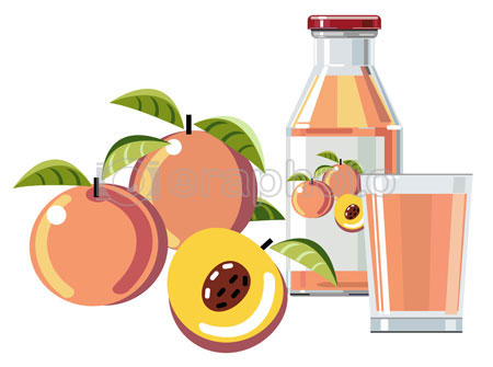 #2000083 - Peach juice with bottle and glass