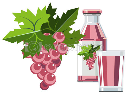 #2000085 - Pink grape juice with bottle and glass