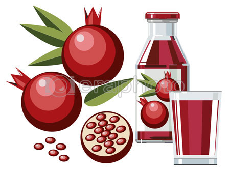 #2000086 - Pomegranate juice with bottle and glass