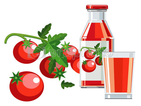 #2000089 - Tomato juice with bottle, glass and tomatoes
