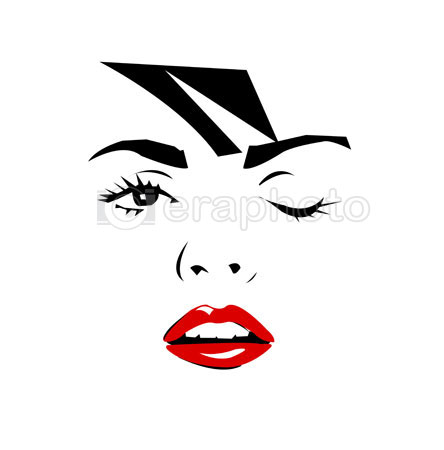 #2000091 - Beautiful winking female face with red lips