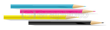 #2000140 - Four pencils - cyan, magenta, yellow and black