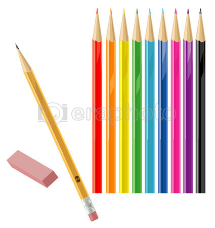 #2000142 - Set of color and regular pencils with eraser