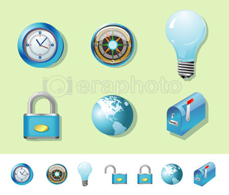 #2000147 - Blue compass, clock, lock, globe, bulb and mailbox