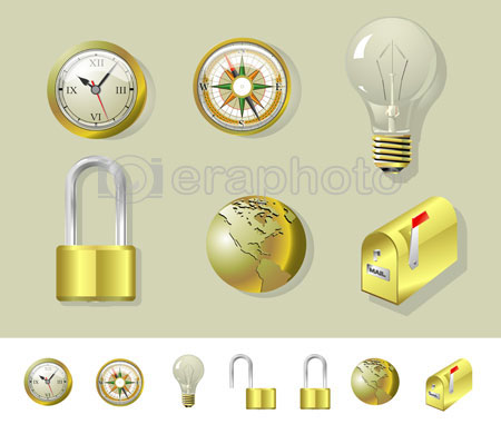 #2000148 - Golden compass, clock, lock, globe, bulb and mailbox