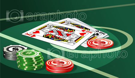 #2000161 - Casino table with chips and cards
