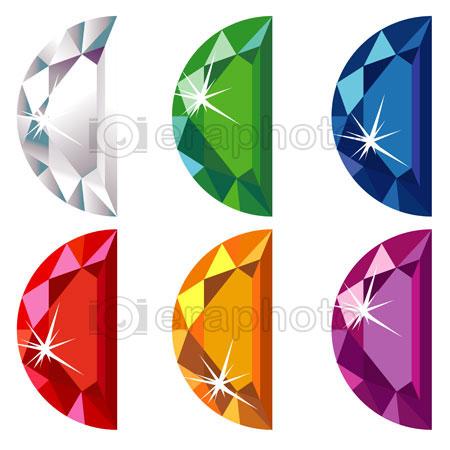 #2000193 - Half moon cut precious stones with sparkle