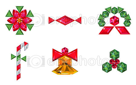 #2000212 - Set of christmas or holiday elements made from precious stones
