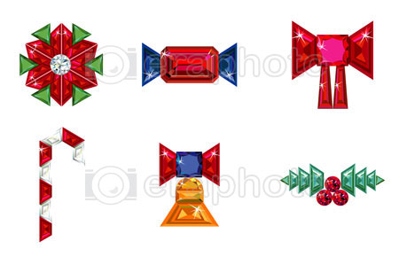 #2000213 - Set of christmas or holiday elements made from precious stones