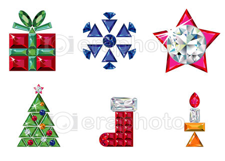 #2000214 - Set of christmas or holiday elements made from precious stones