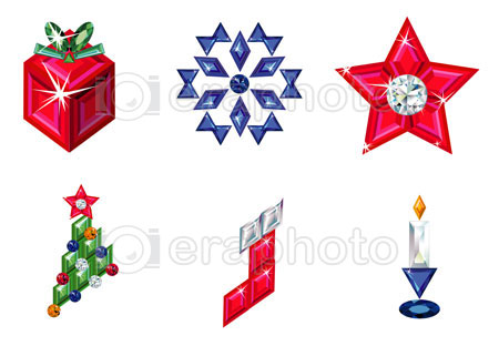 #2000215 - Set of christmas or holiday elements made from precious stones
