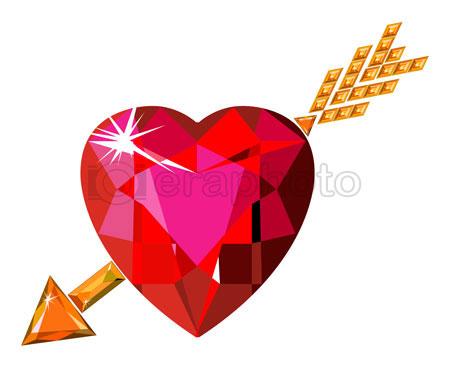 #2000224 - Red ruby heart struck by Cupid arrow