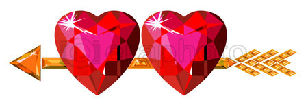#2000225 - Two red ruby hearts struck by Cupid arrow