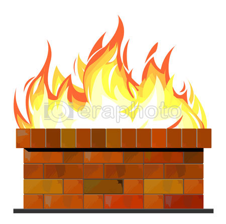 #2000233 - Brick wall on fire