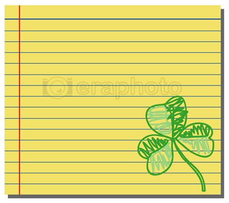#2000245 - Hand drawn shamrock on yellow note paper