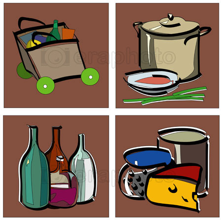 #2000252 - Stylized food icons