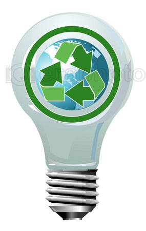 #2000261 - Lightning bulb with globe and recycling symbol