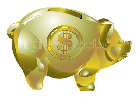 #2000264 - Golden piggy bank