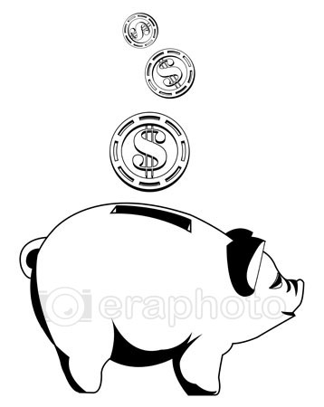 #2000268 - Black and white piggy bank with coins