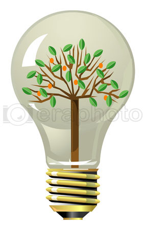 #2000275 - Tree with fruits and leaves inside lightning bulb
