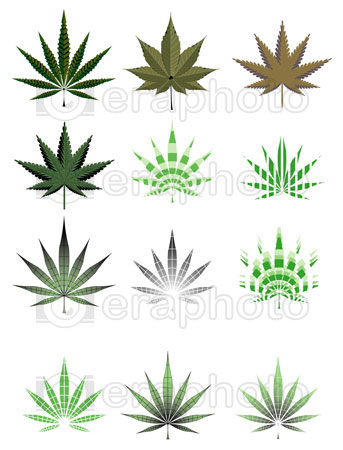 #2000278 - Illustration of cannabis leaf in different styles