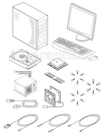 #2000293 - Illustration of various computer parts and accessories
