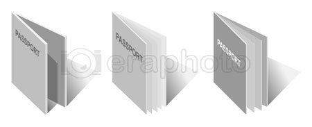 #2000304 - Illustration of generic passport book in different styles