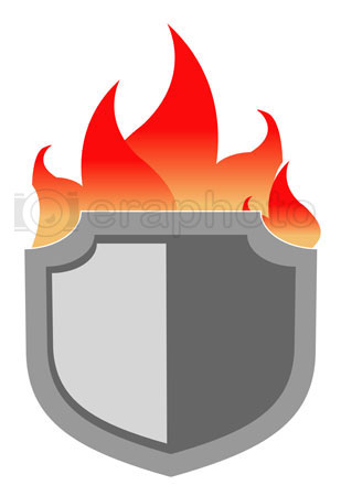 #2000320 - Illustration of generic shield with flames