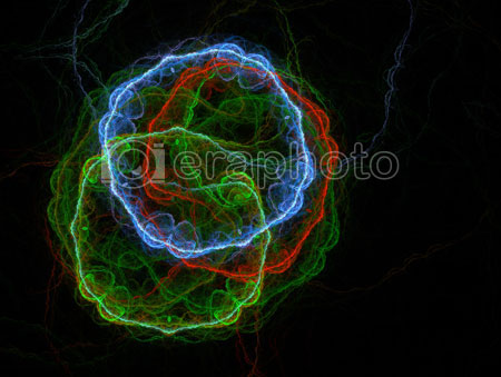 #2000400 - Multicolored simple cells on black background