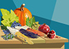 #2000158 - Fruits and vegetables on wooden table for Thanksgiving