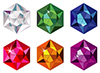 #2000174 - Hexagon cut precious stones with sparkle