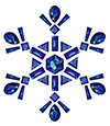#2000203 - Snowflake made from different cut sapphires isolated on white