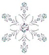 #2000205 - Snowflake made from different cut diamonds isolated on white