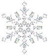 #2000207 - Snowflake made from different cut diamonds isolated on white