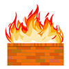 #2000234 - Brick wall on fire