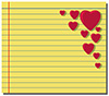 #2000239 - Red hearts on yellow note paper