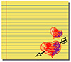 #2000240 - Hand drawn hearts on yellow note paper