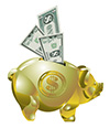 #2000265 - Golden piggy bank with money