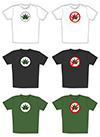 #2000280 - Illustration of t-shirts with cannabis leaf emblem